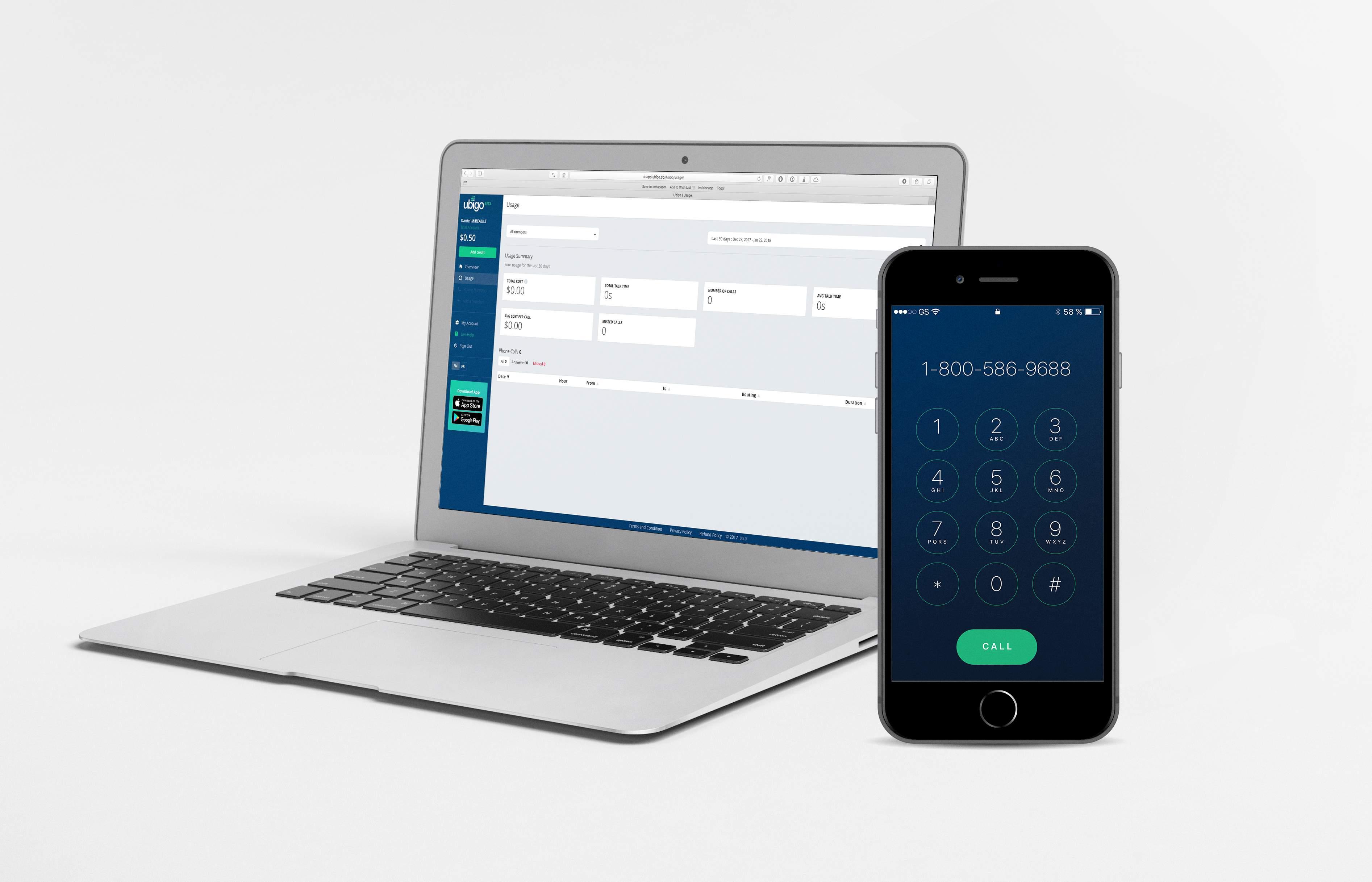 Ubigo web app console and mobile app